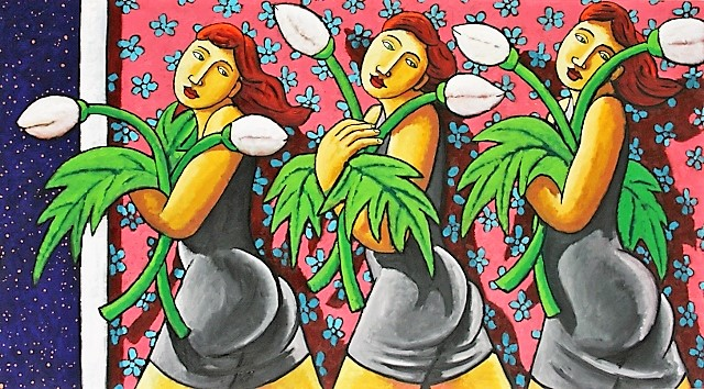 Blooming ladies with flowers 100x180 (640x354)